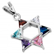 Mix Color CZ Large Star David Pendant, p412