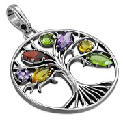Tree of Life Mix Stones Silver Pendant, p553