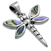 Abalone Dragonfly Silver Pendant, p569