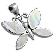 Mother of Pearl Butterfly Silver Pendant, p570