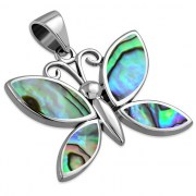Abalone Butterfly Silver Pendant, p570