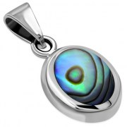 Abalone Oval Silver Pendant, p625