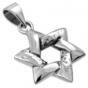 Medium Hammered Style Star David Pendant, pn394