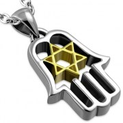 18K Gold plated Hamsa & Star David Pendant, png481