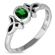 Thin Solid Silver Celtic Green CZ Ring, r329