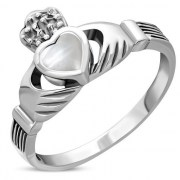 Celtic Claddagh Ring w Mother of Pearl, r446