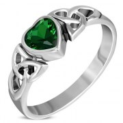 Green CZ Trinity Knot Silver Ring, r465