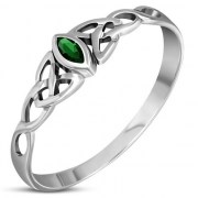 Thin Celtic Knot Silver Ring, set w Green CZ, r494