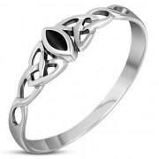 Celtic Knot Silver Ring w Black Onyx, r494