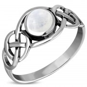 Celtic Knot Sterling Silver Rainbow Moonstone Ring, r522
