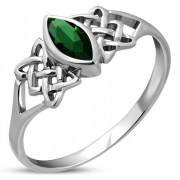 Green CZ Celtic Silver Ring, r538