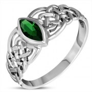 Marquise cut Green CZ Celtic Silver Ring, r539