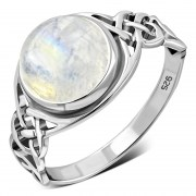 Large Rainbow Moonstone Celtic Silver Ring, r542