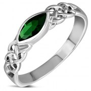 Marquise cut Green CZ Celtic Silver Ring, r553
