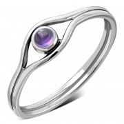Evil Eye Silver Amethyst Genuine Stone Ring, r570