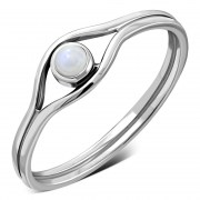 Evil Eye Silver Rainbow Moonstone Ring, r570
