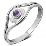Evil Eye Sterling Silver Amethyst Genuine Stone Ring, r571