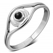 Evil Eye Sterling Silver Black Onyx Ring, r571