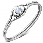 Evil Eye Rainbow Moonstone Silver Ring, r579