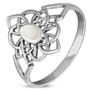 Mother of Pearl Celtic Knot Silver Ring - r594