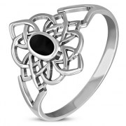 Black Onyx Celtic Knot Silver Ring - r594