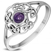 Opal Round Celtic Knot Silver Ring - r596