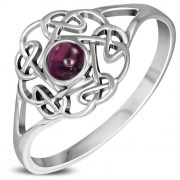 Garnet Round Celtic Knot Silver Ring - r596