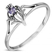Amethyst Celtic Knot Thistle Silver Ring - r597