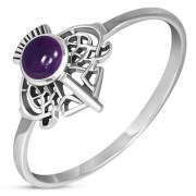 Amethyst Thistle Silver Ring, r598