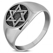 Star of David Mens Silver Ring, rp198