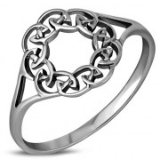 Round Celtic Knot Plain Silver Ring, rp859