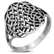 Round Large Light Plain Celtic Silver Ring, rp861