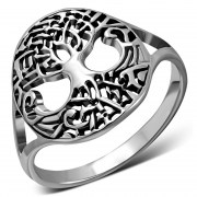 Tree of Life, Plain Celtic Knot Silver Ring, rp867