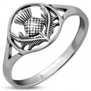 Scottish Thistle Silver Ring - rp870