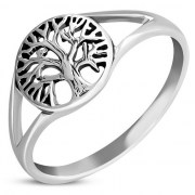Tree of Life Plain Silver Ring - rp871