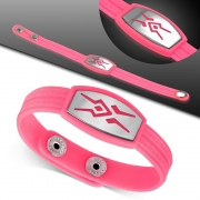 Greek Key Striped Light Pink Rubber w/ Stainless Steel Cut-out Tribal Watch-Style Snap Bracelet - TCL338