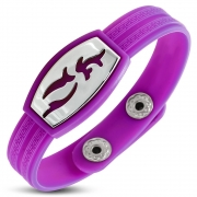 Light Purple/ Violet Rubber w/ Stainless Steel Cut-out Tribal Watch-Style Snap Bracelet - TCL364