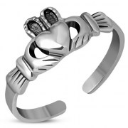 Claddagh Toe Ring Plain Sterling Silver, tr69