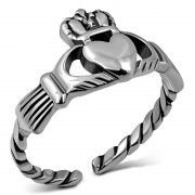Twisted Shank Sterling Silver Claddagh Toe Ring, tr70