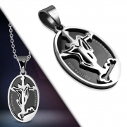 Stainless Steel 2-Part 2-tone Sagittarius Zodiac Sign Star Journey Cross Oval Pendant w/ Clear CZ - VPL130
