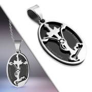 Stainless Steel 2-Part 2-tone Cancer Zodiac Sign Star Journey Cross Oval Pendant w/ Clear CZ - VPL131