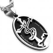 Stainless Steel 2-Part 2-tone Aries Zodiac Sign Star Journey Cross Oval Pendant w/ Clear CZ - VPL139