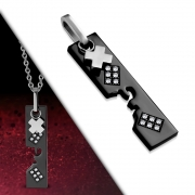 Stainless Steel 2-tone Cross Jigsaw Tag Charm Pendant w/ Clear CZ - VPL198