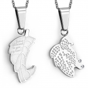 Stainless Steel 2-Part Maple/ Grape Leaf Jigsaw Couple Pendant w/ Clear CZ - VPP238