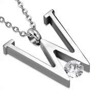 Stainless Steel Initial Letter Alphabet W Charm Pendant w/ Clear CZ - VPP278