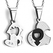 Stainless Steel 2-tone 2-Part Love Heart Gender Symbol Jigsaw Couple Pendant w/ Clear CZ - VPP486