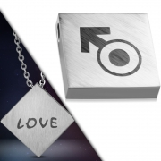 Stainless Steel 2-tone 2-Side Love Monogram Gender Symbol Square Charm Pendant - WPB035