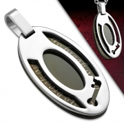 Stainless Steel 2-tone Key Affirmation-Love Oval Pendant - WPB061