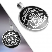 Stainless Steel 2-tone Pig Chinese Zodiac Sign Circle Pendant - XPT092