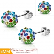 8mm Stainless Steel Argil Disco Ball Shamballa Stud Earrings w/ Colorful CZ (pair) - XRY471